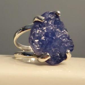 Jewelry - 👑SEMIPRECIOUS ROUGH-CUT GEMSTONE SS RING, SZ 7
